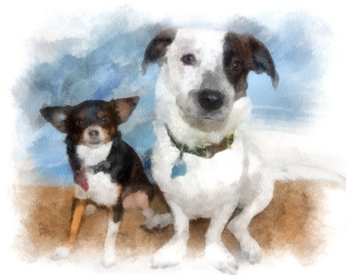 Puppy Portrait Dog Painting Gift Custom Oil Style Pet Painting on Canvas 16x20