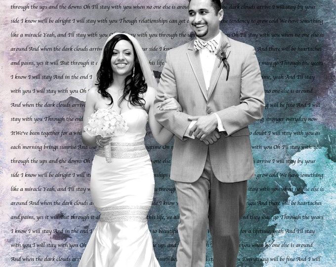 2nd Anniversary Gift Couple Portrait Family Portrait 1st Anniversary Wedding Vow Art First Dance Lyrics Gift For Him  on Canvas 30x30