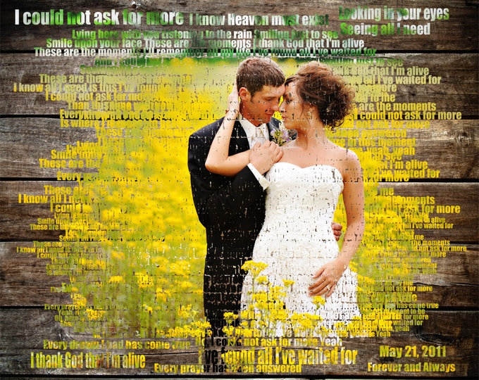 5th Anniversary Gift 5 Year Anniversary Word Art Home Decor Custom Wood Wedding Picture Gift  Text Art Wedding Anniversary Gift 16x20
