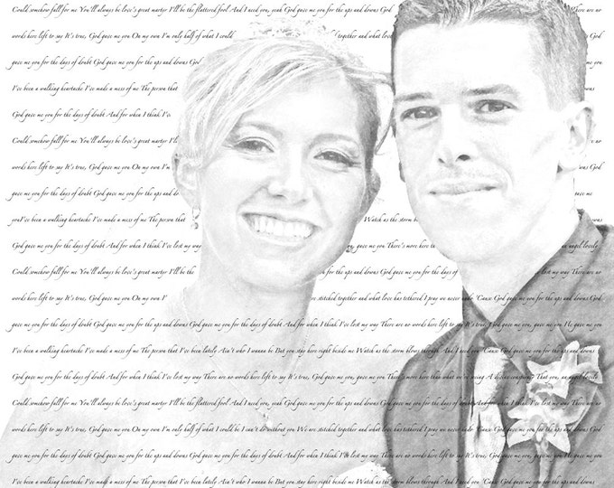 Custom Pencil Drawing Photo Gift Song Lyrics on Canvas Wedding Anniversary Engagement Decor 20x20
