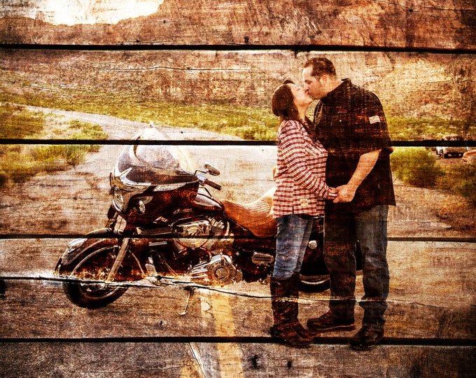 Wood Print Custom Wood Motorcycle Gift For Couple Gift For Him Couple Portrait Gift Photo On Wood Photo Print Wedding Anniversary Gift 20x30