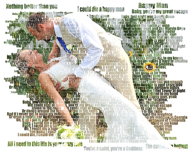 Gift For Couple 2nd Anniversary Couple Portrait Gift Photo Gift Gift For Boyfriend First Dance Song Wedding Vow Art Song Lyric Art 16x20
