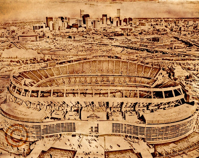 WOOD PRINT Mile High Stadium Denver Broncos Vintage Art Print on Wood 16x20