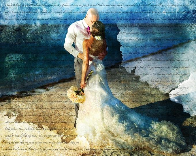 Custom Unique Wedding Prop or Parents Anniversary Gift or Canvas Art 20x24