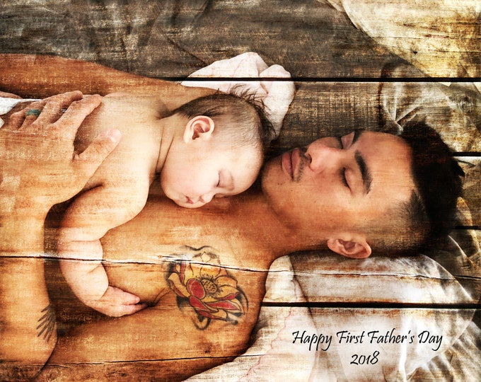 First Fathers Day Gift New Dad New Father First Fathers Day Gift From Son Gift From Daughter Custom Family Portrait Gift 16x20