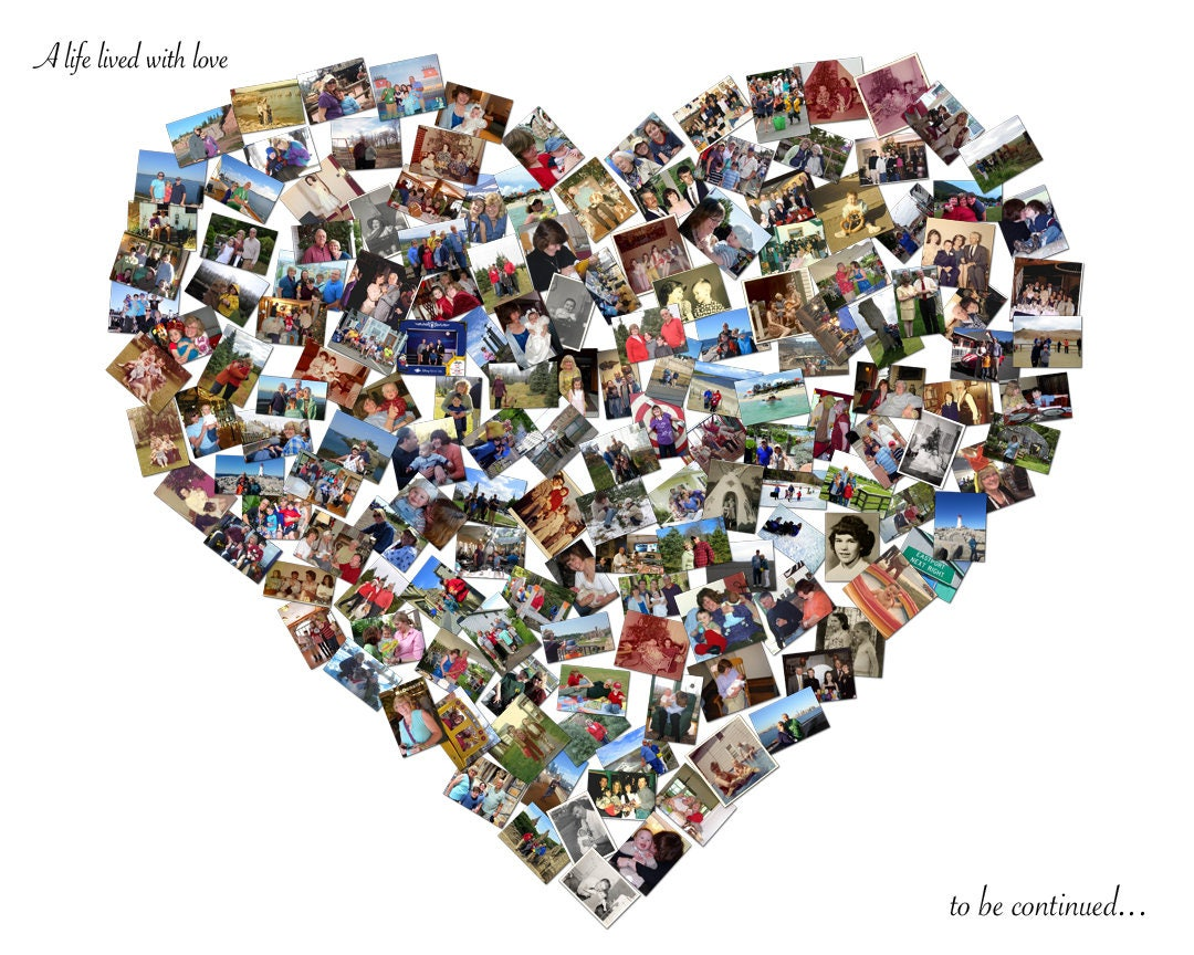 Custom Canvas Mosaic Heart Collage Picture Gift Wedding Or