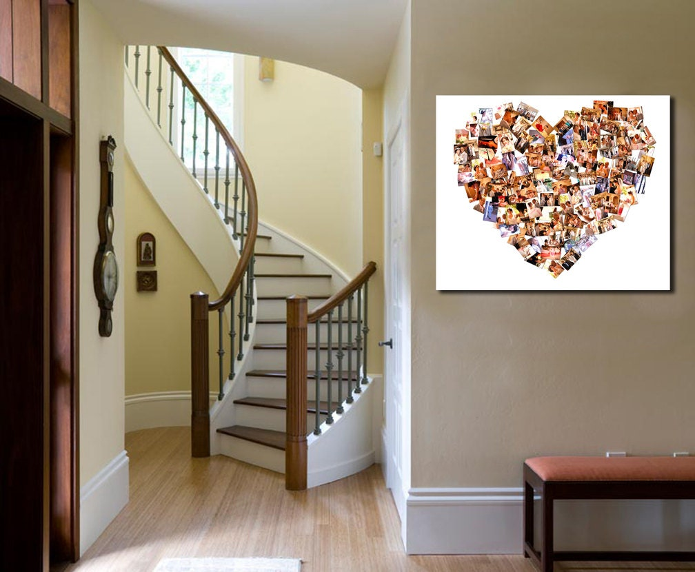 Heart Collage Gift Custom Canvas Mosaic Gift Heart Shape Gift Photo