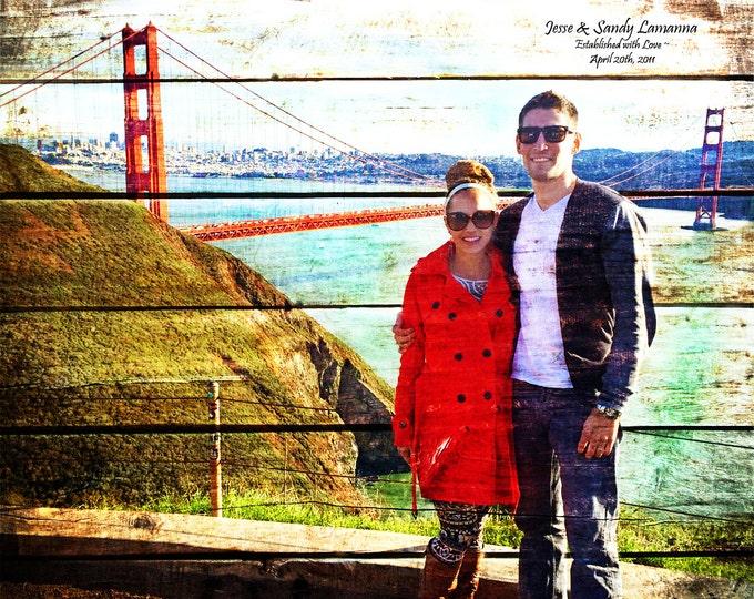 5th Anniversary Gift 5 Year Anniversary Wood Anniversary Photo On Wood Photo Gift Wedding Picture Gift Parents Anniversary Rustic