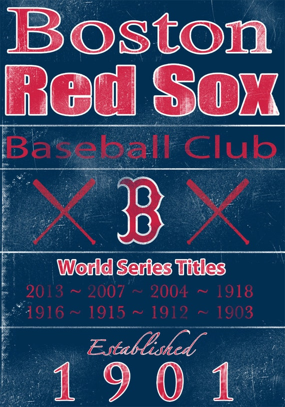 Boston Red Sox Vintage Wall Art Banner on REAL WOOD 16x20 | Etsy
