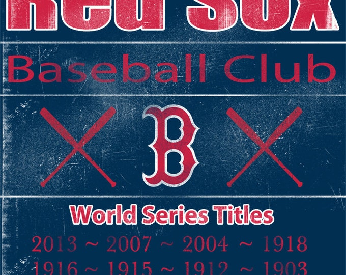 Boston Red Sox Vintage Wall Art Banner on REAL WOOD 16x20