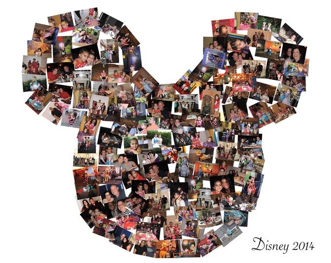 Nursery Decoration Family Portrait Collage  Disney Collage Mickey Mouse Ears Mosaic Collage Picture Gift Wall Art 16x20