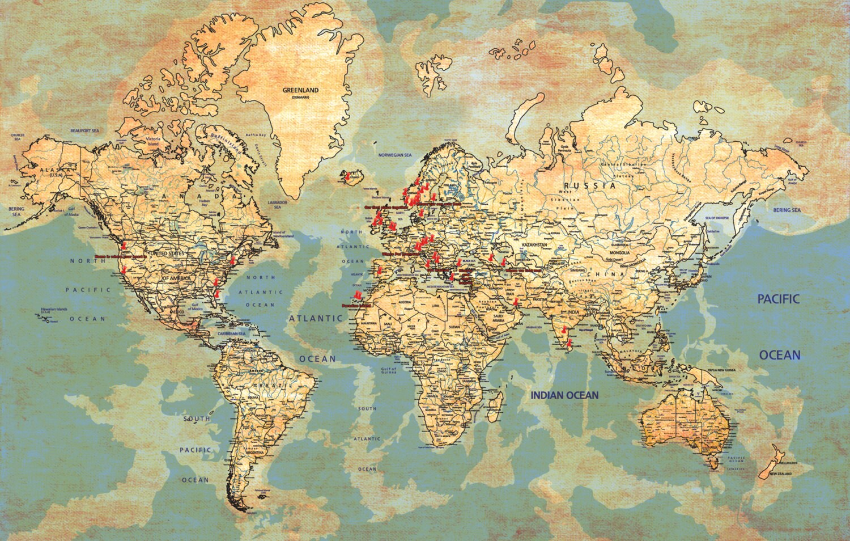 Map Art Global Map Family Tree Parents Anniversary Gift Custom ...