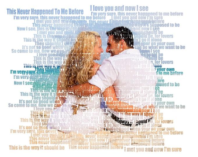 2nd Anniversary Gift First Dance Lyrics First Dance Songs 1st Anniversary Song Lyric Art Wedding Vow Art Couple Portrait on Canvas  16x20