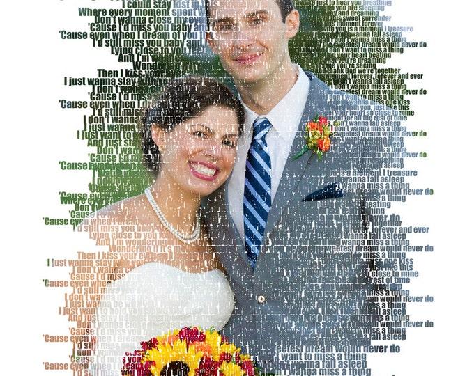 Wedding Anniversary Gift  Photo Gift Portrait On Canvas Wedding Vows Song Lyric Gift 16x16
