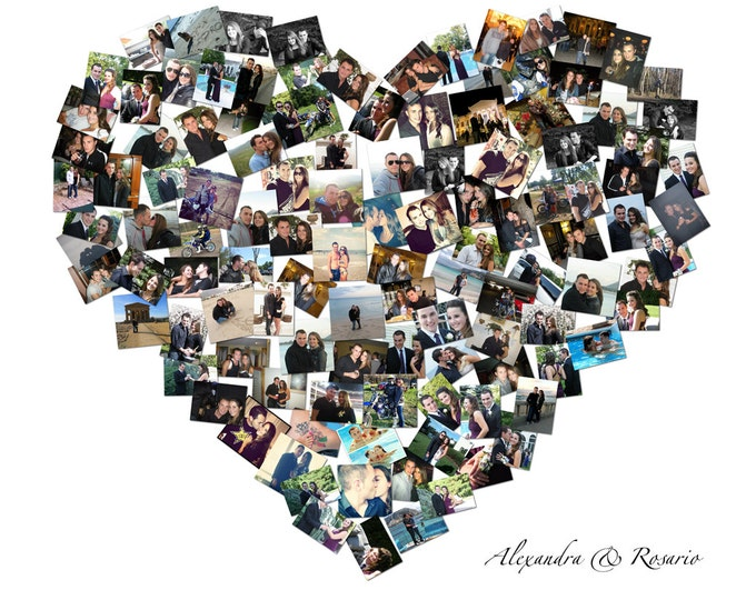 Valentines Day Gift Heart Shape Gift For Him Custom Canvas Mosaic Collage Picture Gift Wedding or Anniversary Wall Art 20x24