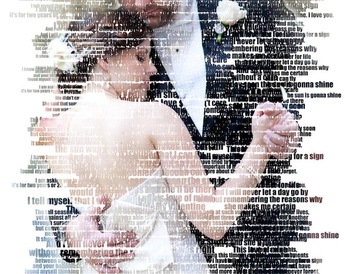 Custom Word Art Photo Gift Portrait On Canvas Wedding Vows Song Lyric Gift 20x24