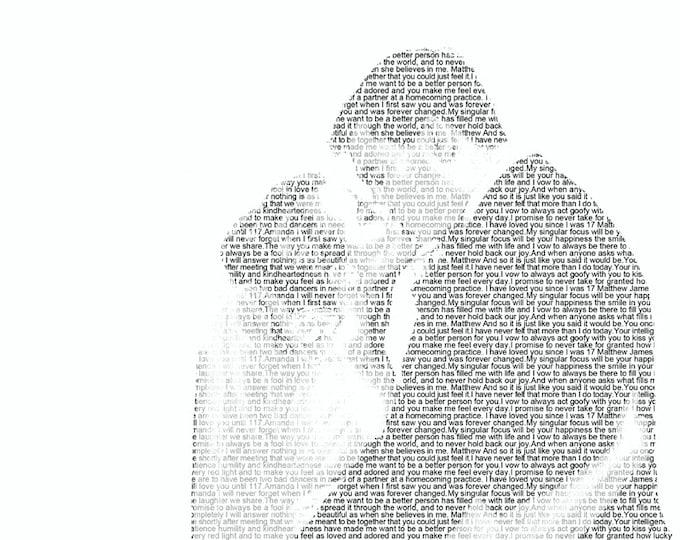 Wedding Vows First Dance Lyrics 1st Anniversary First Dance Songs Wedding Vow Art Wedding Vows Print  onTextured  Art Paper 8.5x11