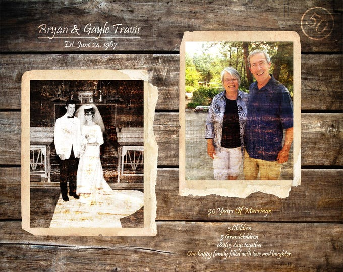 50th Anniversary Gift Parents Anniversary 50 Years Of Marriage Golden Anniversary Gifts For Parents 50 Years Ago Gift Home Decor 16x20