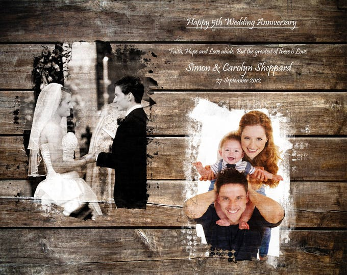 5th Anniversary, 5 year Anniversary, 5th Anniversary Gift Wedding Picture Gift Wood Print, Home Decor, Gift From Wife 16x20