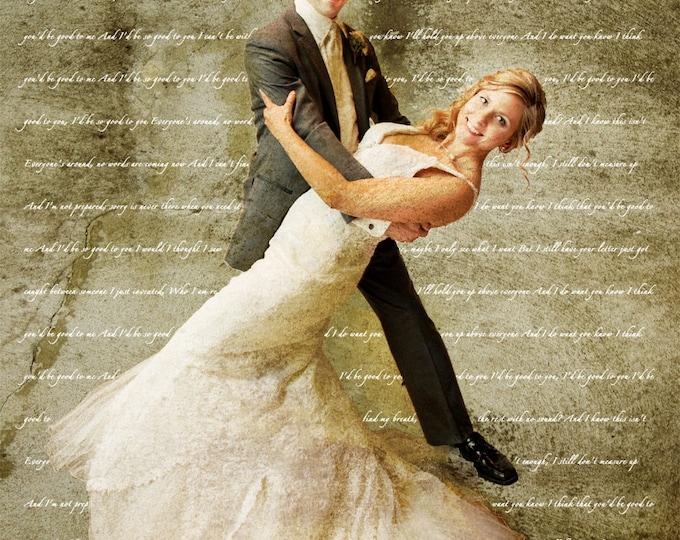 2nd Anniversary Gift First Dance Lyrics First Dance Song Wedding Vow Art Song Lyric Art Couple Portrait 1st Anniversary on Canvas  16x20