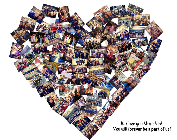 Fathers Day Gift  Gift For Coach Family Portrait Valentines Day Gift Heart Collage Family Tree Custom Canvas Mosaic Collage Picture  16x20