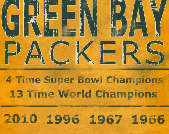 Green Bay Packers Lambeau Field Vince Lombardi Wall Art Home Decor Man Cave Sports Fan Home and Living Vintage Art Print on Wood 16x20