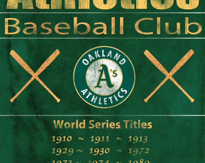Oakland A's Vintage Wall Art Banner on REAL WOOD 14x20
