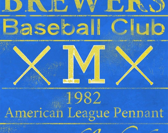 Milwaukee Brewers Vintage Wall Art Banner on REAL WOOD 14x20