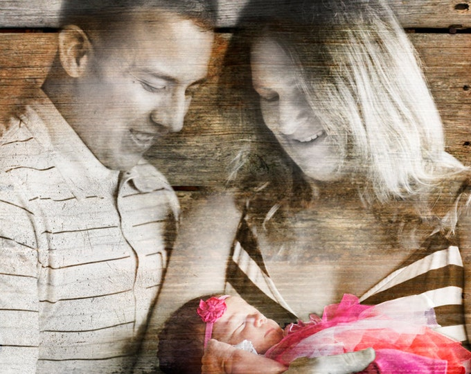 First Fathers Day Gift First Mothers Day Gift New Mom New Dad Family Portrait Gift From Son Gift From Daughter Wood Print