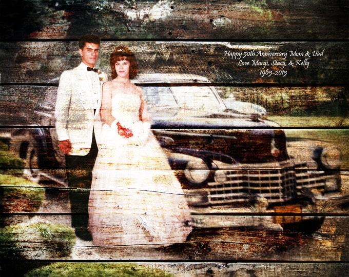 Parents Anniversary Gift Wood Print Photo on Wood REAL WOOD print Custom Parents Anniversary Gift Wedding Anniversary Gift