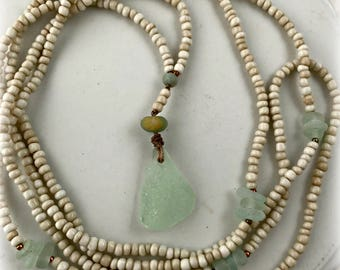 Seafoam Sea Glass, Amazonite, Cream Pony Beads, Copper, Hand Knotted Extra Long Necklace