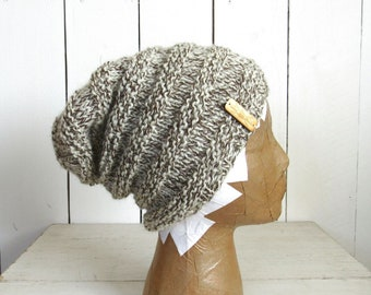 Knit Beanie Hat Pattern - Texture Striped Accordion Beanie - 2 Styles Slouchy or Fitted - PDF DIY Knit Winter Hats