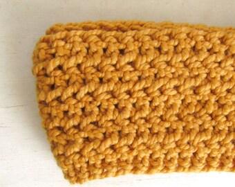 Wool Infinity Cowl Scarf - Plush Crochet Circle Scarf - Mens Womens Unisex - Mustard - Ready to Ship