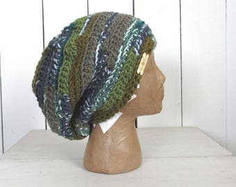 Slouchy Beret Hat - Crochet Dreadlock Beanie Hat - Floppy Winter Hat - More Colors - Ready to Ship