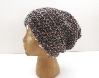 Beanie Hat - Crochet Slouchy Knit Winter Hat - Medium - Mens Womens Kids - Gray Pink Mix - Ready to Ship