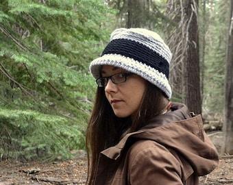 Crochet Hat Pattern - Bucket Hat Pattern - Rolled Brim Flat Top Pork Pie Hat - DIY Instant Download Pattern - Two Sizes