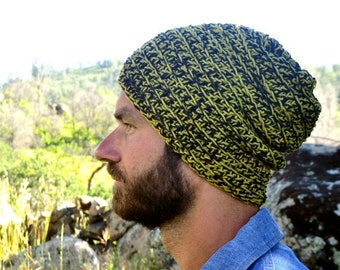 Crochet Beanie - Slouchy Cotton Hat - Black Avocado Green - Small - Ready To Ship