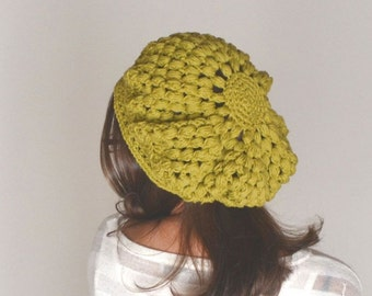 Beret for Women - Crochet Cotton Summer Beret - Snood Tam Hat - Boho Hippie Rasta Beret - More Colors - Ready to Ship