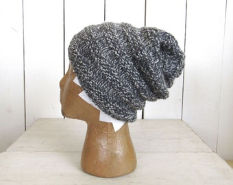 Hand Knit Beanie Hat Wool Accordion Toque Slouchy All Natural 100% Wool Hat Gray White Mix