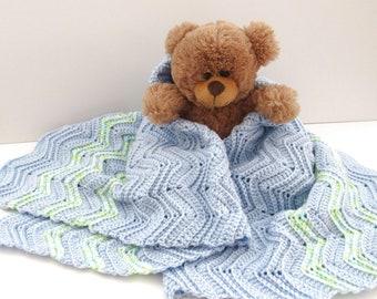 Crochet Baby Blanket - Handmade Boys Baby Blue Mint Green Chevron Striped Security Blanket - 32 x 30 Inches