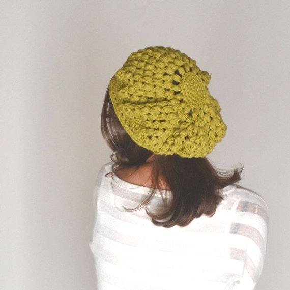 Cotton Beret Hat Crochet Summer Tam Hat Spring Snood Hat Boho