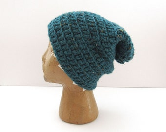 Beanie Hat - Crochet Slouchy Knit Winter Hat - Medium - Mens Womens Kids - Turquoise Blue - Ready to Ship