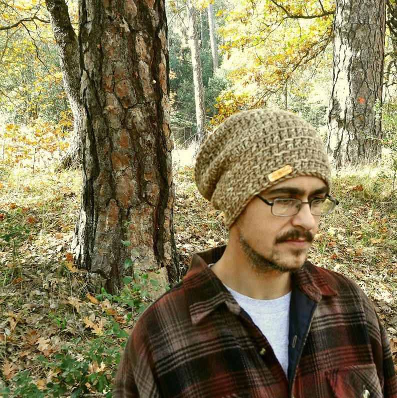 Chunky Knit Hat in Brown Alpaca Slouchy Knit Hat Ready to Ship Adult Beanie