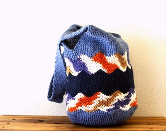 Crochet Bag Pattern - Market Tote Shopping Bag Pattern - PDF Instant Download - Chevron Stripe Cotton Bag to DIY
