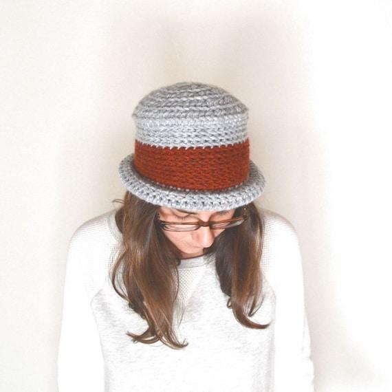 Crochet Bucket Hat Pattern Rolled Brim Flat Top Pork Pie Hat  51672ea2d2e