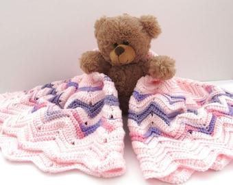 Crochet Baby Blanket - Handmade Girls Blanket - Pink Purple Chevron Striped Knit Security Blanket - 32 x 32 Inches
