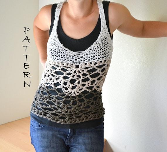 Knit And Crochet Tank Top Pattern Boho Hippie Mesh Lace Halter Etsy