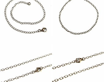 3 10 pieces WHOLESALE LOTS Rhodium Plated 925 Sterling Silver 2.5x3mm Cable Chain Lobster Clasps EXTENDERS 1 6 1.5 5 8 inches 4 2 7