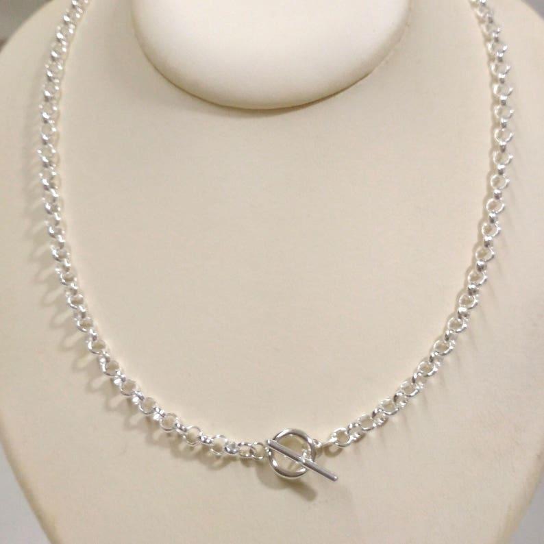 4f9088706027b 925 Sterling Silver 5mm ROLO / BELCHER Chain Toggle Clasp NECKLACE. Genuine  Silver. Free Shipping Worldwide