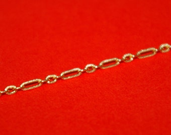 2 feet 61 cm 14kt Gold Filled Textured 3+1 Flat Oval Cable Links BULK Chain 2x6mm + 2x3mm, 0.6mm Thick - Free Shipping Worldwide
